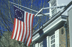 Original 13 colony flag flying outside home of Betsy Ross, Philadelphia, Pennsylvania Royalty Free Stock Image
