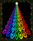 Original colorful christmas tree. Illustration on colorful christmas tree with star in the night Royalty Free Stock Photos