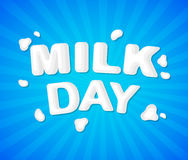 The original concept poster to advertise milk. Concept poster to advertise milk. Vector illustration with lettering Royalty Free Stock Images