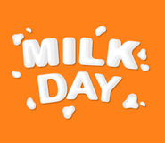 The original concept poster to advertise milk. Concept poster to advertise milk. Vector illustration with lettering Stock Photography