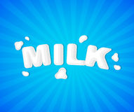 The original concept poster to advertise milk. Concept poster to advertise milk. Vector illustration with milk lettering. Card for world Milk day Stock Image