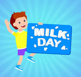 The original concept poster to advertise milk. Concept poster to advertise milk. Vector illustration with milk lettering. Card for world Milk day. Child with Royalty Free Stock Photos