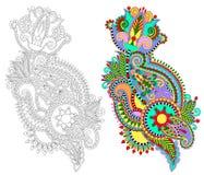 Original conception fleurie aspiration de main de fleur de schéma Images stock