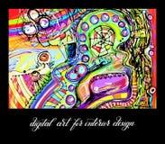 Original contemporary digital abstract painting artwork Stock Photos