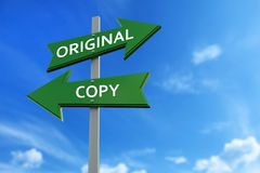 Original and copy arrows opposite directions. Arrows pointing two opposite directions towards original and copy Royalty Free Stock Photography