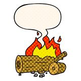 A creative cartoon camp fire and speech bubble in comic book style. An original creative cartoon camp fire and speech bubble in comic book style vector illustration
