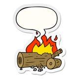 A creative cartoon camp fire and speech bubble sticker. An original creative cartoon camp fire and speech bubble sticker royalty free illustration