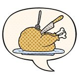 A creative cartoon cooked turkey being carved and speech bubble in comic book style. An original creative cartoon cooked turkey being carved and speech bubble in royalty free illustration