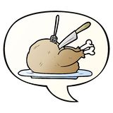 A creative cartoon cooked turkey being carved and speech bubble in smooth gradient style. An original creative cartoon cooked turkey being carved and speech stock illustration