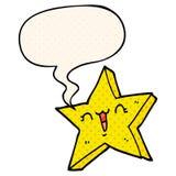 A creative cute cartoon star and speech bubble in comic book style. An original creative cute cartoon star and speech bubble in comic book style vector illustration