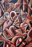 Original Cubism Artwork Hidden Faces. An original cubism artwork piece with geometric black lines and shades of red and brown with hidden eyes and faces Royalty Free Stock Photo