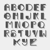 Original curved latin alphabet set. Royalty Free Stock Images