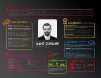 Original cv / resume template. Vector original minimalist cv / resume template - dark creative version Stock Photography