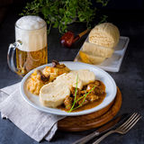 Original Czech dumpling with goulash Royalty Free Stock Image