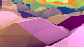 Lowpoly Backdrop with Bulging Surface. An original 3d illustration of a multicolored lowpoly backdrop with a salient and crisscross surface. The territory looks Royalty Free Stock Photo