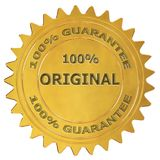 100% original guarantee label. 100% original 3d rendered golden guarantee label Stock Photo