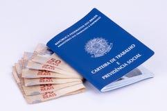 Original de trabalho brasileiro e original da segurança social (carteira d Fotos de Stock