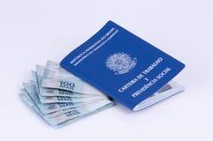 Original de trabalho brasileiro e original da segurança social (carteira d Imagens de Stock