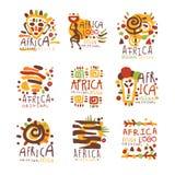 Original- design för Afrika logo Resa till Afrika den färgrika handen drog vektorllustrations stock illustrationer