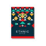 Original- design för etnisk stil, prydnad för geometrisk design för ethno stam-, moderiktig modellbeståndsdel för affärskort, log stock illustrationer