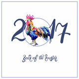 Original design for new year celebration chinese zodiac signs wi. Th decorative rooster on circle, digital painting vector illustration with hand written Royalty Free Stock Image