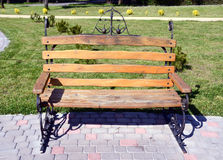 Original design wooden bench in park Royalty Free Stock Image