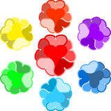 Original Designed Hearts Painted in Rainbow colors Royalty Free Stock Photos