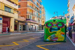 Original details of the city of Estepona. Funny trash can. Costa del Sol, Andalusia, Spain. Picture taken – 24 october 2017 royalty free stock photos