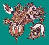 Original digital draw line art ornate flower Imagens de Stock Royalty Free