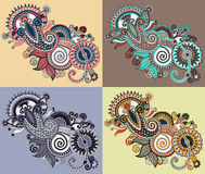 Original digital draw line art ornate flower ilustração stock