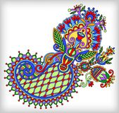 Original digital draw line art ornate flower Royalty Free Stock Photo
