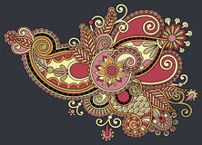 Original digital draw line art ornate flower Stock Photo