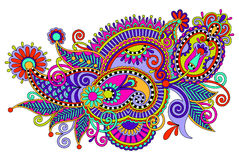 Original digital draw line art ornate flower Stock Images