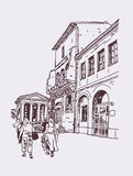 Original digital drawing of Rome street, Italy, old italian  Royalty Free Stock Photo