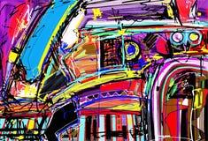 Original- digital målning av abstraktionen Arkivbild