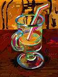 Original digital painting of glass coffee Stock Photo