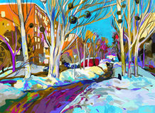 Original digital painting of winter cityscape. Stock Images