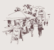 Original digital sepia sketch of street cafe in Kyiv, Ukraine  Stock Photography