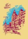 Original digital sketch of Kyiv, Ukraine town landscape royalty free illustration