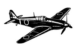 Digital sketch of World War 2 aircraft. Stock Photo