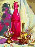 Original digital  still life with a bottle, candle Royalty Free Stock Photo