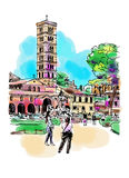 Original digital watercolor drawing of Rome street, Italy, old i Royalty Free Stock Photography