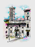 Original digital watercolor drawing of Rome street, Italy, old i Royalty Free Stock Image