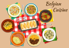 Original dishes of belgian cuisine. Belgian cuisine endive rolls witloof with ham and cheese flat icon served with milk sausages, fries with beef stew, mashed Stock Images