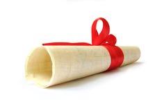 original do diploma com a fita vermelha isolada Imagem de Stock Royalty Free