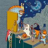 Original doodle artistic halloween card Royalty Free Stock Image