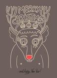Original doodle christmas deer, concept winter Stock Image