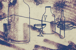 The original drawing. Abstract graphics with the table, bottles, glasses, plates. The clear contours of objects. Abstract background, the stamp vector illustration