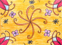 Original drawing of beautiful pattern of flowers Royalty Free Stock Photos