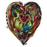 Original drawing doddle heart. Stock Photo